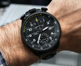 Review Hamilton Khaki Takeoff Car Chrono Replica Watch With Dark Leather-Based Strap